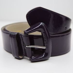 BETSEY JOHNSON Patented Black Leather Wide Belt